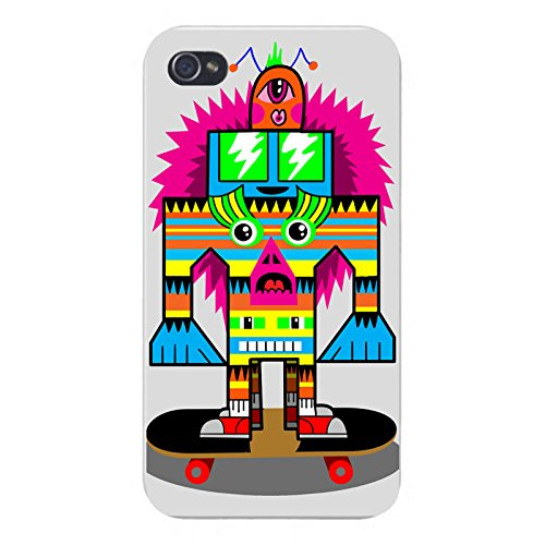 Apple iPhone Custom Case 5 / 5S White Plastic Snap On - Punk Skate Totem Skateboarding Colorful...