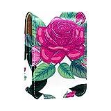 Estuche de lápiz labial de flores de color rosa para el exterior, para monedero, mini bolsa de lápiz labial, bolsa de cosméticos de viaje con espejo para mujer, toma hasta 3 pintalabios
