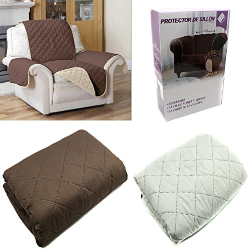 FUNDA CUBIERTA PARA SOFA REVERSIBLE CUBRIR SOFA SILLON COLOR MARRON Y BEIGE PROTECTOR SOFA 1 PLAZA 70 CM