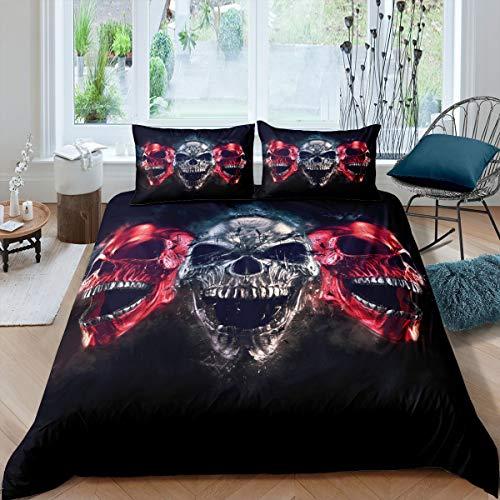 Funda de edredón con diseño de calavera, diseño de esqueleto, juego de cama para niños y niñas, color rojo y negro