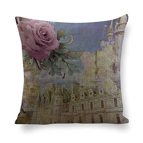 Funda de almohada de lino con diseño de rosas personalizadas, funda de almohada decorativa para coche, sofá, sala de estar, dormitorio, regalo de inauguración de la casa, lrqervv6spcq, Lino, Color 2, 16'x16'