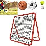 ACXIN Fußball Rebounder Kickback Tor Rückprallwand Netz, Metallrohr+PE Gewebe, 100 x 100 x 65 cm, Rot + Schwarz