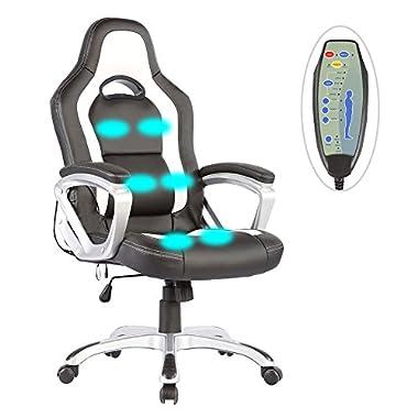 Mecor Massage Office Chair PU Leather Heated Vibrating Race Car Style Ergonomic Armchair (Black&White)