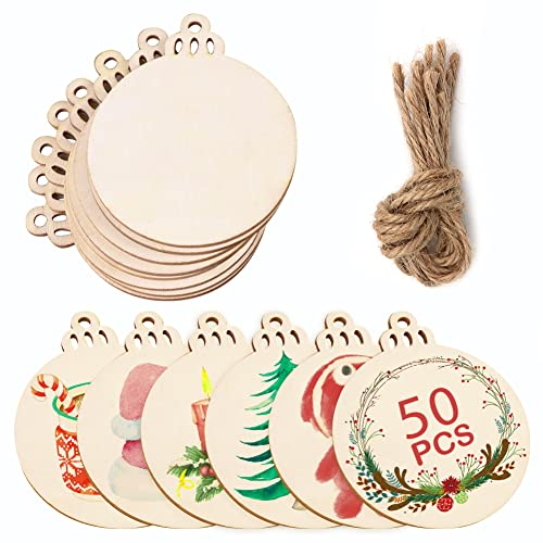 AerWo 50pcs Wooden Circles for Crafts, 3.5' Round Wood Discs Slices with Pre-drilled Holes, Unfinished Blank DIY Hanging Wooden Christmas Ornaments to Paint, Paintable Christmas Craft Kits for Kids