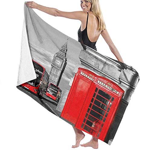 TISAGUER Toalla de baño Cabina de teléfono de Londres en la Calle Icono Cultural Local Tradicional Inglaterra Tema Retro Suave Hoja de baño de para el hogar,la Piscina Toallas Baño Toalla de Playa