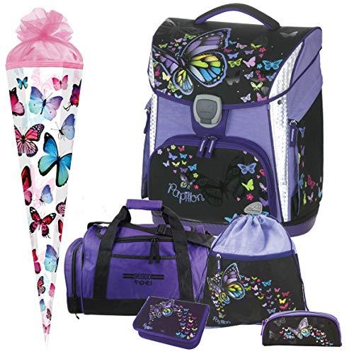 Papillon - Butterfly Schmetterling - Schneiders LED-TOOLBAG Plus mit LED-LEUCHTSYSTEM Schulranzen-Set 6tlg mit Sporttasche und SCHULTÜTE