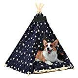 Arkmiido Pet Tent for Dogs Puppy Cat with Bed, Canvas Dog House, Pet Teepee with Cushion 60CM, Indoor Outdoor (pet tent)