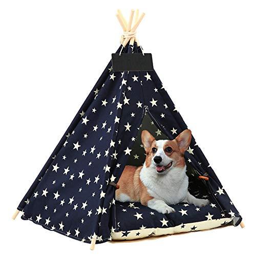 Arkmiido Tenda per Animali Domestici con Letto, Casa di Tela per Cani e Gatti, Teepee per Animali Domestici con Cuscino 60 cm, Dentro Fuori.