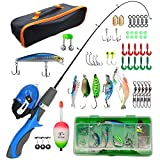 Liouhoum Kids Fishing Pole - Portable Telescopic Fishing Rod Combination Kits with Tackle Box and Lightweight Fishing Poles for Kids, Youth Fishing Pole, Kids Fishing Poles for Boys and Girls