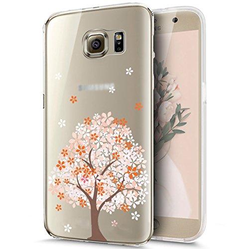 KunyFond Funda Samsung Galaxy S7 Edge,Carcasa Calidad Suave Simple Transparente Pintura Pintado Impresion Colores Premium Vistoso Silicona Frame TPU Dibujo Bella Flor Bumper Anti-Golpes-Melocotonero