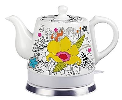 FixtureDisplays Teapot, Ceramic, Teamaker, Large Yellow Flower 12039