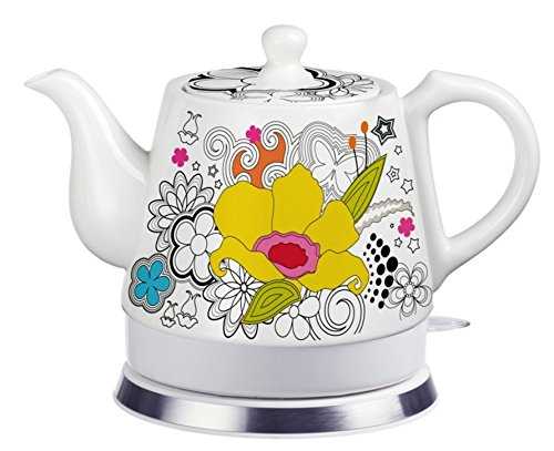 FixtureDisplays Teapot, Ceramic, Teamaker, Large Yellow Flower 12039