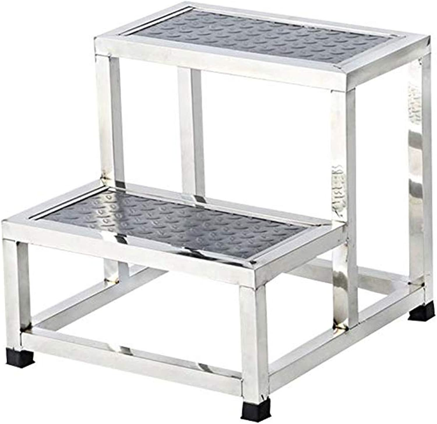 CAIJUN Ladder Stool Household Multipurpose Stainless Steel Whole Outfit Non-Slip Climbing 2 Step Ladder, 2 Styles, 2 Sizes Dual-use (color   A, Size   40x45x40cm)