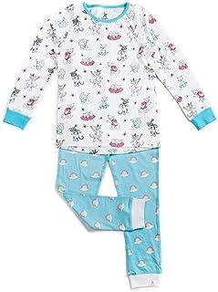 Conjunto de pijama de manga larga para niñas, 100% algodón orgánico y suave certificado de comercio justo, ropa natural para niños