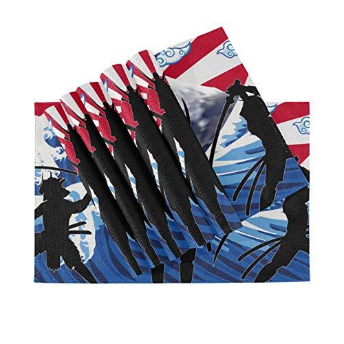 Juego de 6 manteles Individuales, manteles Individuales Lavables con Aislamiento térmico, Silueta Japonesa Samurai Wave Rising Sun, 18 x 12 Pulgadas, manteles Individuales de Cocina para Mesa de Come
