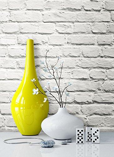 Steintapete Vliestapete Weiß Natur Stein, schöne edle Tapete im Steinmauer Design, moderne 3D Optik für Wohnzimmer, Schlafzimmer oder Küche inkl. Newroom Tapezierbroschüre