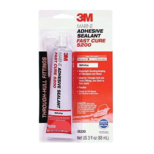 3M Marine Adhesive Sealant 5200FC Fast Cure, PN05220, White, 3 oz Tube, Model:3004.7747
