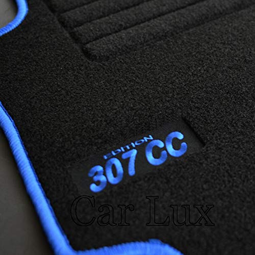 Car Lux AR02816 Tapis de sol en velours avec bordure bleue pour 307cc