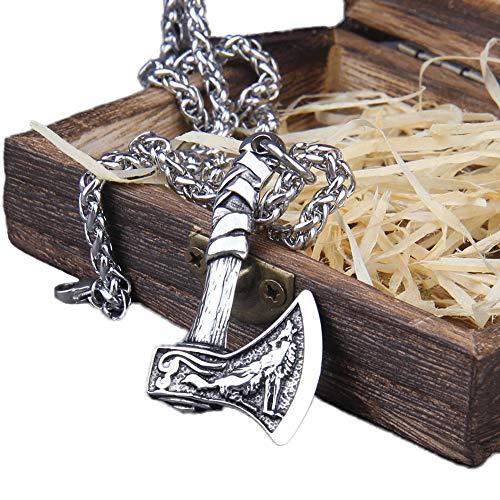 NICEWL Viking Celtic Lobo Cuervo Hacha Colgante Collares, Hombres de Acero Inoxidable Odin Cuervo Eslavo Hacha Pagano Amuleto, Nórdico Escandinavo Runa Tótem Pirata Joyería