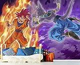 Papel Pintado de Pared Dragon Ball Super Goku vs Beerus Producto Oficial | 350x250 cm | Papel Pintado para Paredes | Producto Original |Decoración Hogar | DBS