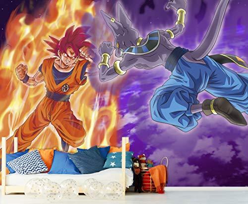 Fotomural Vinilo de Pared Dragon Ball Super Goku vs Beerus Producto Oficial | 150x100 cm | Fotomural para Paredes | Producto Original | Decoración Hogar | DBS