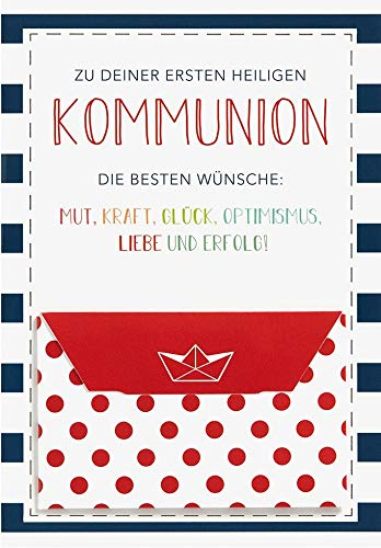 Karte zur Kommunion Geldkarte Lifestyle - die besten Wünsche - 11,6 x 16,6 cm