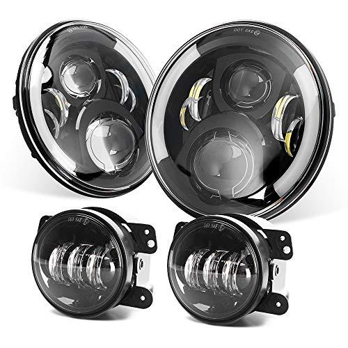 DOT Approved 7'' Black Cree LED Headlights + 4 '' LED Fog Lights for Jeep Wrangler 97-2017 JK TJ LJ