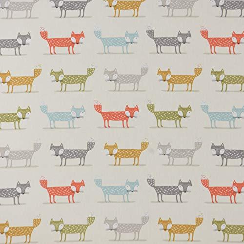 Fryett`s Englischer Dekostoff Baumwollstoff Halbpanama Foxy Füchse orange gelb grün 138cm Breite