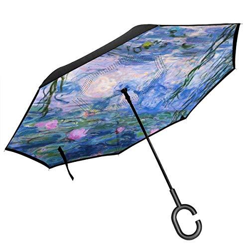 Umkehrbarer Regenschirm, 2-lagig, faltbar, Winddicht, UV-Schutz, langlebig, mit C-förmigem Griff innen, Lotus-Teich-Druck, für Auto, Regen, Outdoor, 8 Skelett