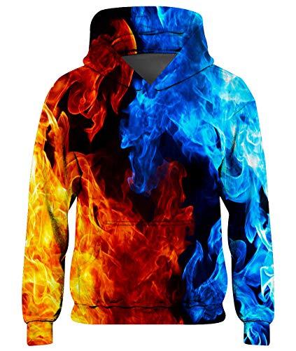 Freshhoodies Jungen Mädchen Hoodie Bunt 3D Feuer Unisex Kinder Kapuzenpullover Blau Langarm Pullover Hoody Sweatshirt Mit Taschen 11-14 Jahre