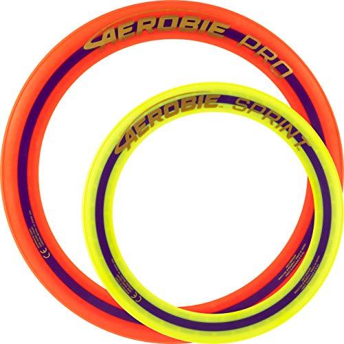 Aerobie Pro Wurfring Sprint Frisbee Ring Wurfspiel Set Pro Sprint Ring (Orange / Gelb)