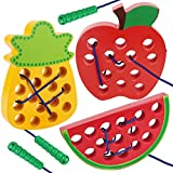 Aitey Lacing Toy for Toddlers, Apple Watermelon Pineapple Wooden Threading Toys Educational Learning Fine Motor Skill Toys Car Plane Travel Games for 2 3 4 Years Old Kids Boys and Girls
