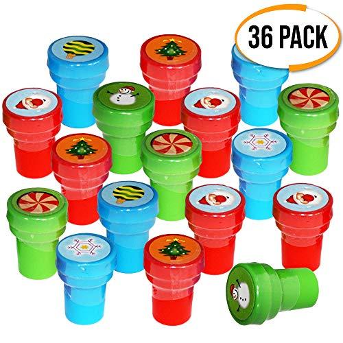 THE TWIDDLERS 36 Sellos Navideños de Tinta - 6 Diseños de Navidad - Perfecto para Regalos de Fiesta niños - Piñatas - Bolsas Sorpresas Infantiles - Detalles