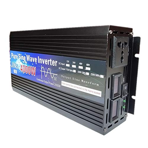 Inversor de Onda sinusoidal Pura 12V 24V 48V 60V 220V 3000W 4000W Transformador de Voltaje inversor Solar DC12V A CA 220V Convertidor LED (Color : 4000W, Input Voltage : 12V)