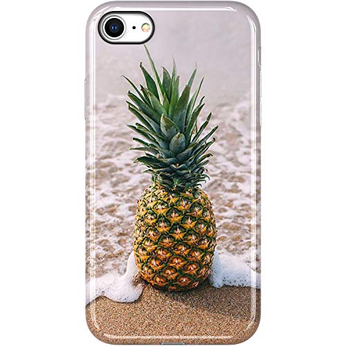 VIVIBIN iPhone SE 2020 Case,iPhone 8 Case,iPhone 7 Case,a Pineapple on The Beach,Clear Bumper Soft TPU Cover Slim Fit Protective Phone Case for iPhone 7/iPhone 8/New iPhone SE