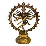 Shiva Figur Messing 20 cm | Indischer Gott tanzende Shiva Nataraja im Rad | Hinduismus Religiöse Statue Herr des Tanzes Natraj Dekofigur | Feng Shui Esoterik Geschenke