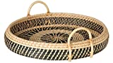 KOUBOO Round Rattan Breakfast, Natural-Black Serving Trays, One Size