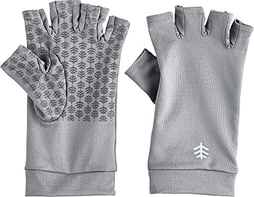 Coolibar UPF 50+ Men's Women's Ouray UV Fingerless Sun Gloves - Sun Protective (Large- Pebble Grey)