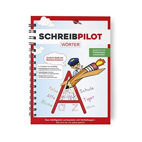 Schreibathlet: Cuaderno para aprender a escribir para proteger ABC con palabras pregrabadas de una a tres plateadas, incluye lápiz y goma de borrar [en alemán]