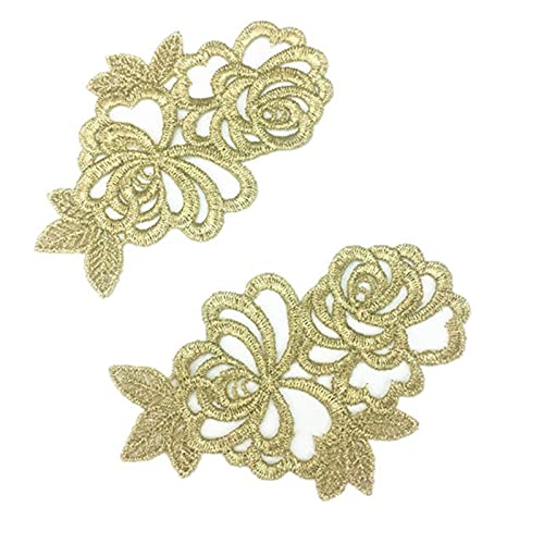 Par de espejos parches bordados encaje de guipur dorado para coser encaje para vestido apliques DIY tocados de novia Collar de encaje JA104-JA37
