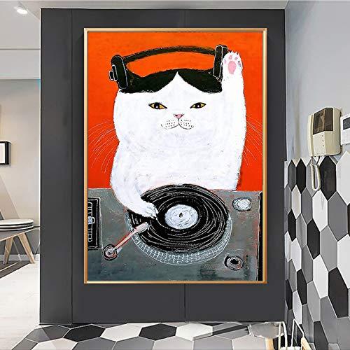 UIOLK Dibujos Animados Gato bebé jardín de Infantes Cartel de Arte de Pared Divertido DJ Mascota Gato Motocicleta Lienzo nórdico Sala de Estar decoración del hogar