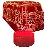 Lámpara de ilusión óptica 3D 3D luz nocturna Bus 16 colores regulable con toque inteligente remoto, regalos de Navidad y cumpleaños para niños y niños