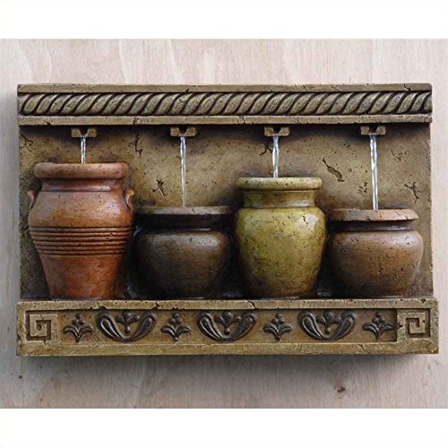 Pemberly Row Colorful Pots Wall Water Fountain