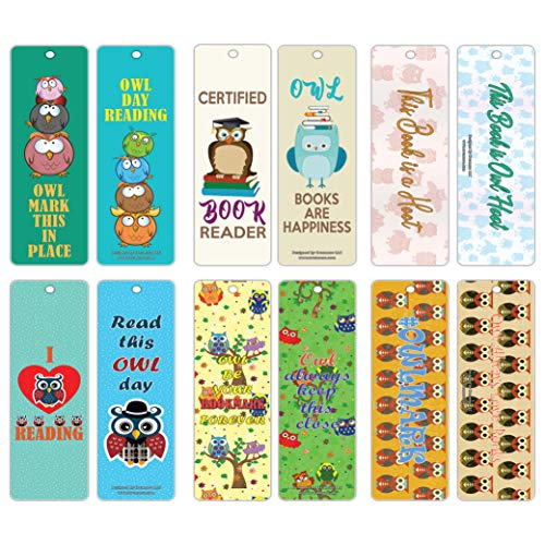 Owl Bookmarks for Kids (30-Pack) – Inspiring Sayings for Productive Book Reading – Premium Quality Bookmarker Card Set – Stocking Stuffers Gifts for Young Readers