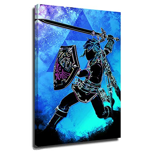The Legend of Zelda Breath of The Wild Posters Canvas Mural 3D Print Wall Art for Living Room Heroic Soul of Heroes Soul of The Wild 16x24 Inch
