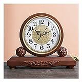 XGJJ Reloj de mesa chino retro de madera maciza sala de estar estudio grande creativo escritorio reloj silencioso adornos escritorio reloj escritorio