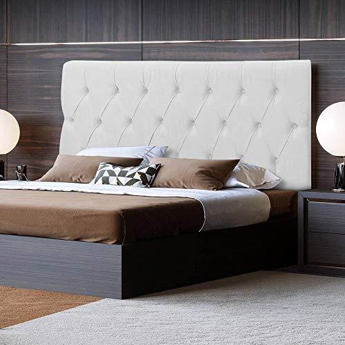 Cabeceira Box Casal Estofada 1,40 Paris Captonê Corino Branco - RPM Móveis