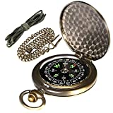 AYOUYA Kompass Outdoor Messing Taschenkompass mit Kette und Halsband, Antiker Taschenuhren Kompass, Sprungdeckel Marschkompass Leuchtziffern Wasserdicht