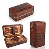LAGUTE Groucho Cigar Case Travel Genuine Leather Humidor CC-01, Cedar Wood Lined...