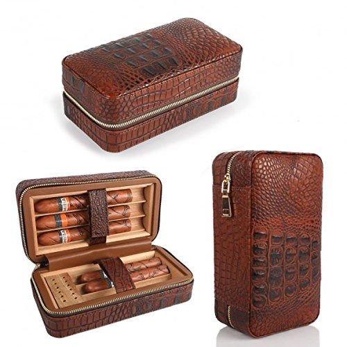 LAGUTE Groucho Cigar Case Travel Genuine Leather Humidor CC-01, Cedar Wood Lined with Humidifier and Removable Trays, Portable Light Weight Cigar Box Gift Set
